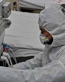 Image of healthcare worker in China with protective gear